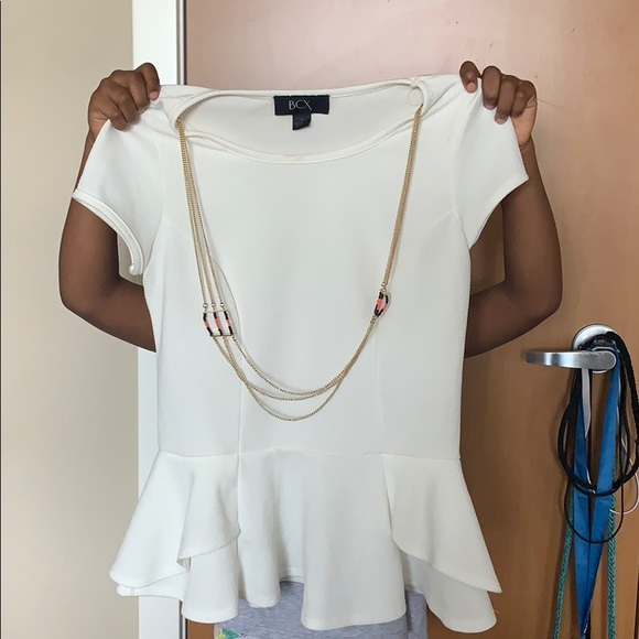 BCX Tops - A white blouse with an attached gold necklace.
